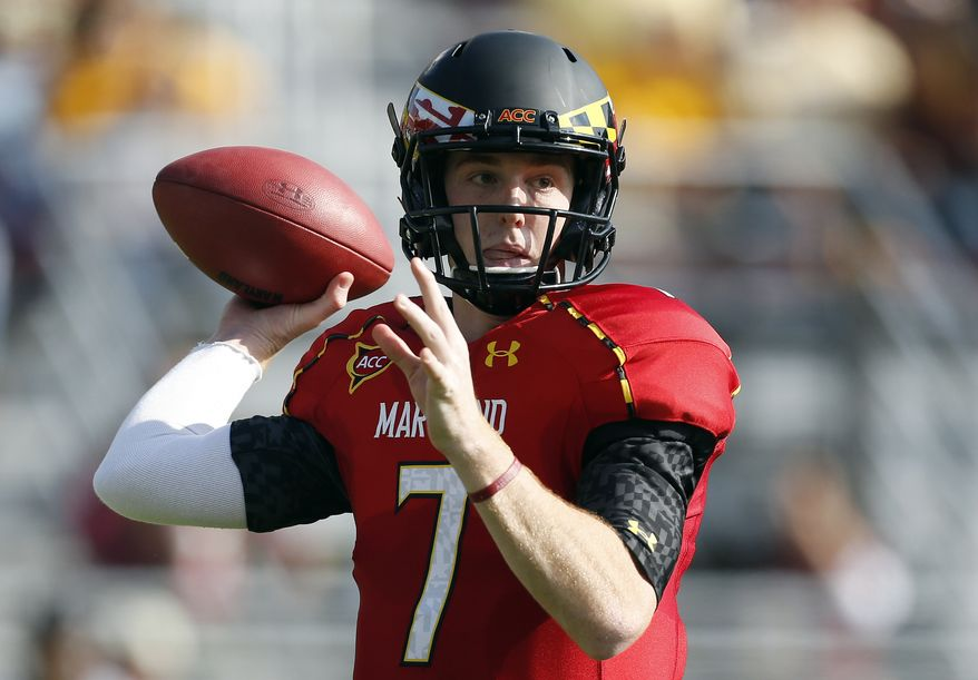 Maryland quarterback Caleb Rowe looks to pass in the first quarter of an NCAA college football game against Boston College in Boston, Saturday, Oct. 27, 2012. (AP Photo/Michael Dwyer)