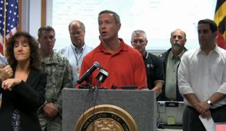Maryland Gov. Martin O'Malley discusses storm preparations at a news conference in Reisterstown, Md.