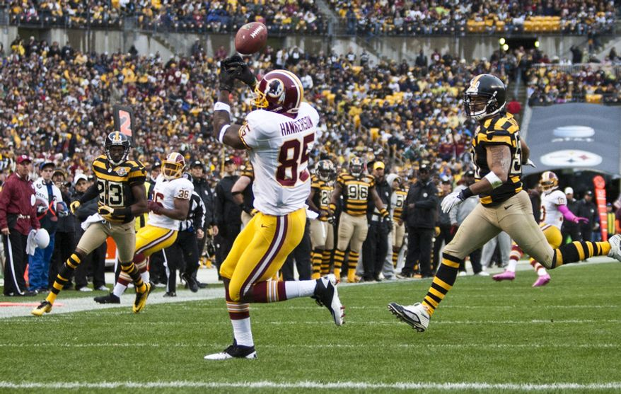 Washington Redskins wide receiver Leonard Hankerson (85) misses a touchdown catch in the first quarter against the Pittsburgh Steelers at Heinz Field, Pittsburgh, Pa., Sunday, Oct. 28, 2012. Cooley will be playing his first game of the season against the Steelers today. (Craig Bisacre/The Washington Times)