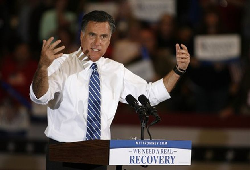 Republican presidential candidate former Massachusetts Gov. Mitt Romney speaks at a campaign rally at the Marion County Fairgrounds in Marion, Ohio, Sunday, Oct. 28, 2012. (AP Photo/Mike Munden)