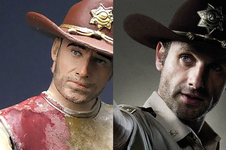 McFarlane Toys' action figure version of Deputy Rick Grimes versus Andrew Lincoln as Mr. Grimes in The Walking Dead. (Photograph by Joseph Szadkowski / The Washington Times)