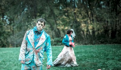 Kurt Conner, from South Hadley, MA, roams an open grassy area as he portrays a zombie for Run for Your Lives, a zombie infested 5k obstacle course run, in Darlington, MD., Saturday, October 27, 2012. (Andrew S. Geraci/The Washington Times)