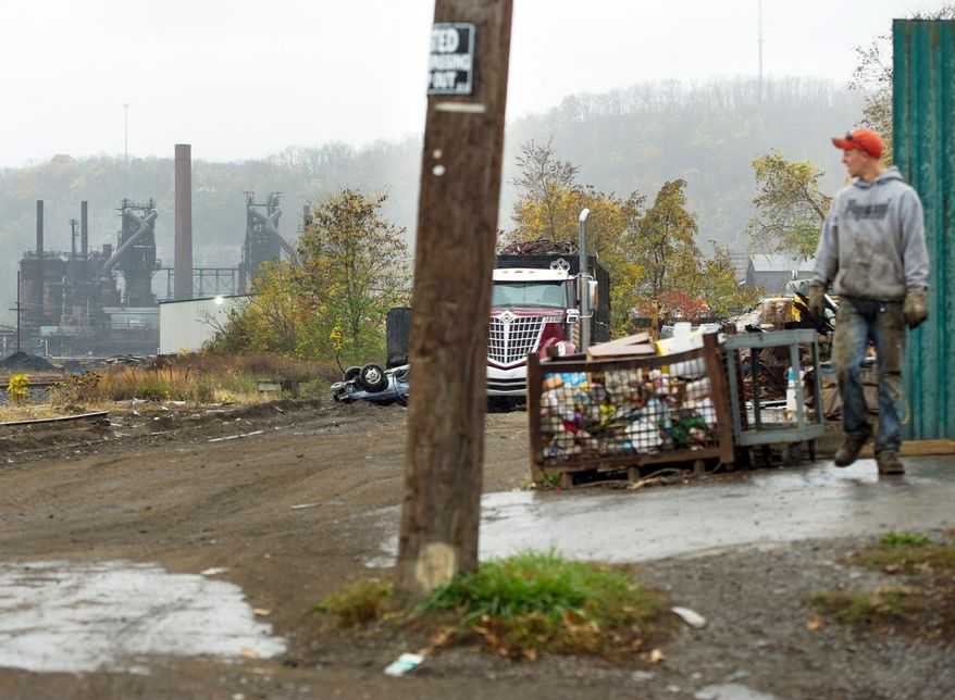 Steubenville, Ohio, was once a place where steel mills were churning and wealth was created. The city now faces a long, hard slog to regain the prosperity it once knew. (Andrew Harnik/The Washington Times)