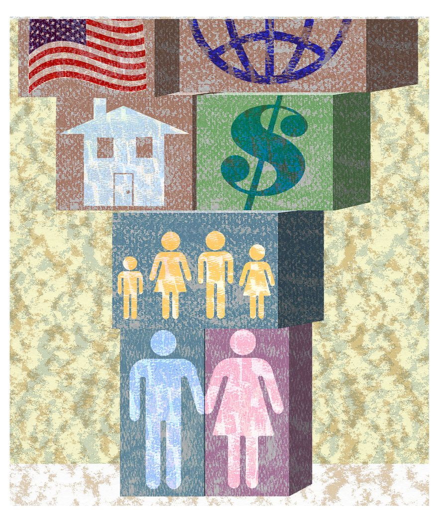 A study by researchers at Brigham Young University and Ball State says young adults see such value in marriage that they are actually postponing it to get their finances and other life events in order. But there may be a cost to that. (Illustration by Alexander Hunter for The Washington Times)