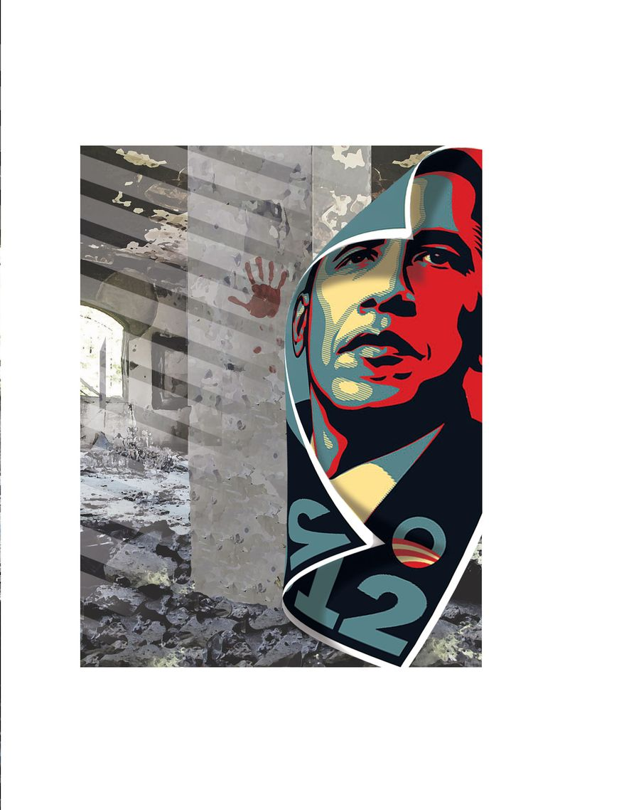 Illustration Libya by Alexander Hunter for The Washington Times