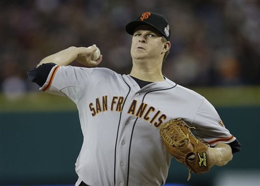 San Francisco Giants starting pitcher Matt Cain throws during the first inning of Game 4 of baseball's World Series against the Detroit Tigers Sunday, Oct. 28, 2012, in Detroit. (AP Photo/Matt Slocum)
