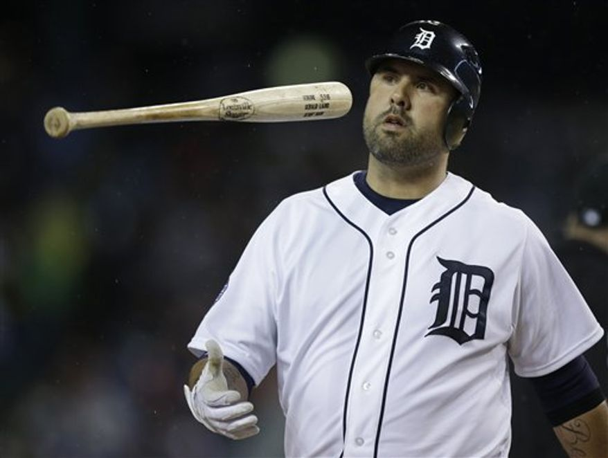 Detroit Tigers' Gerald Laird reacts after a pop bunt out during the fifth inning of Game 4 of baseball's World Series against the San Francisco Giants Sunday, Oct. 28, 2012, in Detroit. (AP Photo/Matt Slocum)