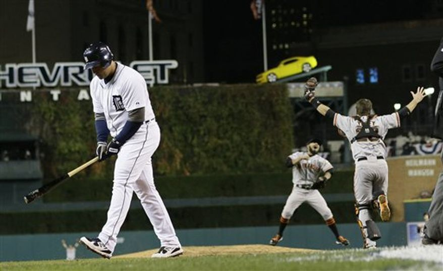 Detroit Tigers' Miguel Cabrera walks away after striking out to end Game 4 of baseball's World Series against the San Francisco Giants  Sunday, Oct. 28, 2012, in Detroit. The Giants won 4-3 to win the series. (AP Photo/Matt Slocum)