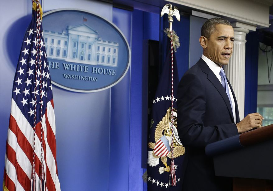 President Obama speaks in the White House briefing room in Washington on Monday, Oct. 29, 2012, after returning to the nation's capital from a campaign stop in Florida to monitor Hurricane Sandy. (AP Photo/Jacquelyn Martin)