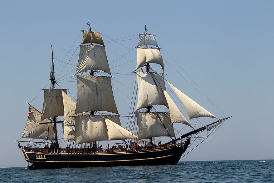 In this July 7, 2010, photo, the tall ship HMS Bounty sails on Lake Erie off Cleveland. The U.S. Coast Guard has rescued 14 members of the crew forced to abandon the ship, which was caught in Hurricane Sandy off North Carolina. The Coast Guard is searching for two other crew members. (AP Photo/Mark Duncan, File)