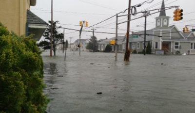 Flooding on the corner of 93rd Street and Third Avenue in Stone Harbor, N.J. (Photo courtesy Kaylin Morrissey Bridgeman)