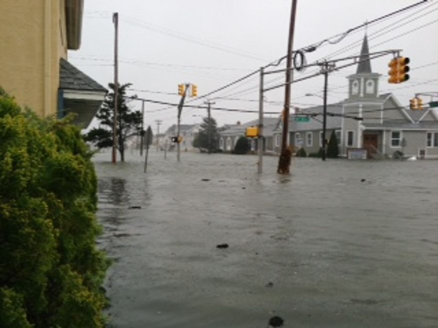 Flooding on the corner of 93rd Street and Third Avenue in Stone Harbor, N.J. (Photo courtesy Kaylin Morrissey Bridgeman)