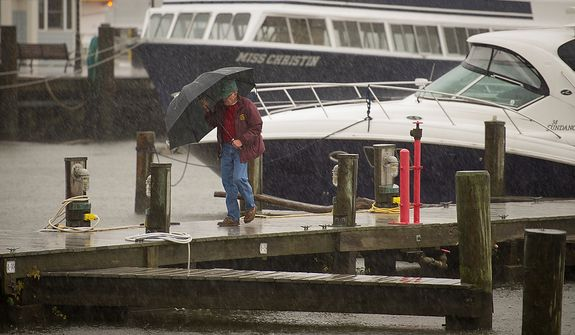 A man fights the heavy rain and initial winds from Hurricane Sandy at the marina in Old Town Alexandria, Va., Monday, Oct. 29, 2012 while Hurricane Sandy makes it's way north along the Atlantic coast. (Rod Lamkey Jr./The Washington Times)
