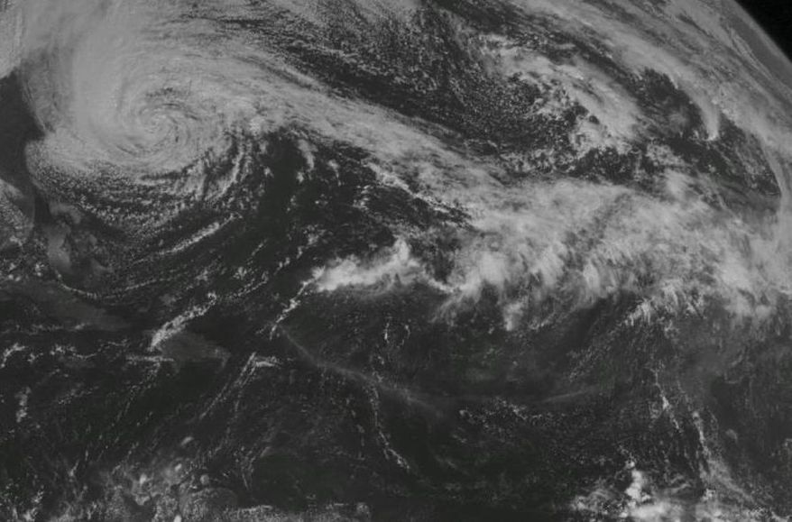 This NOAA satellite image shows Hurricane Sandy off the Mid Atlantic coastline moving toward the north with maximum sustained winds of 75 mph. Heavy rain spreads across North Carolina and Virginia coastlines into the Delmarva Peninsula. Farther east, rain showers are along a stationary front over the eastern Ohio Valley (AP Photo/Weather Underground)