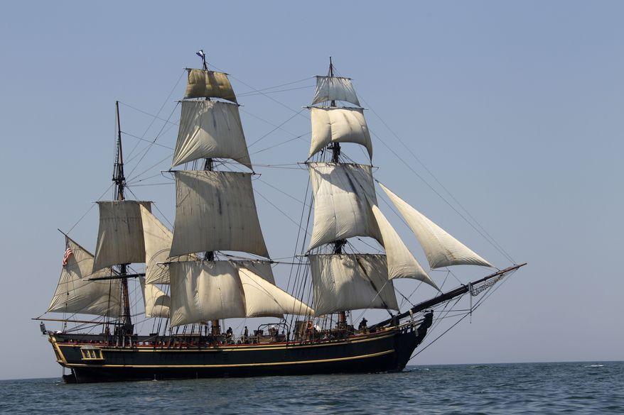 ** FILE ** The tall ship HMS Bounty sails on Lake Erie off Cleveland in July 2010. The U.S. Coast Guard has rescued 14 members of the crew forced to abandon after being caught in Hurricane Sandy off North Carolina on Monday, Oct. 29, 2012. The Coast Guard is searching for two other crew members. (AP Photo/Mark Duncan)