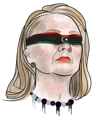 Illustration Hillary's Libya by Linas Garsys for The Washington Times