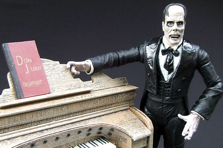 Diamond Select Toys's The Phantom of the Opera shows off his favorite musical instrument. (Photograph by Joseph Szadkowski / The Washington Times)