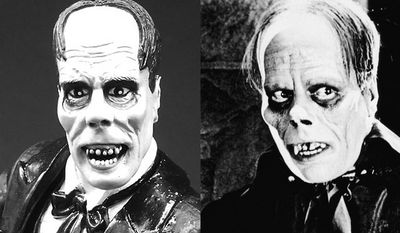 """Diamond Select Toys' Phantom of the Opera compared to Lon Chaney's version from the film classic """"The Phantom of the Opera."""" (Photograph by Joseph Szadkowski / The Washington Times)"""