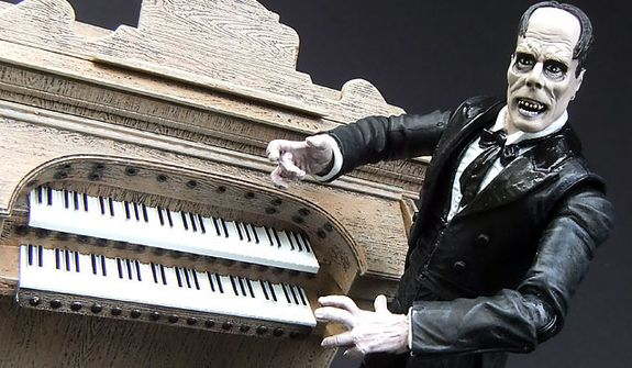 Diamond Select Toys's The Phantom of the Opera figure includes an organ. (Photograph by Joseph Szadkowski / The Washington Times)