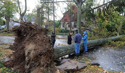 Barbara Sinenberg, left and Arlene O'Dell, second from left, talk with neighbors next to a tree that had fallen across Barberry Lane as a result of the powerful winds and rain of Hurricane Sandy on Tuesday, Oct., 30, 2012, in Sea Cliff, N.Y. O'Dell's car was crushed by a fallen tree and her home, background was surrounded by fallen trees. (AP Photo/Kathy Kmonicek)