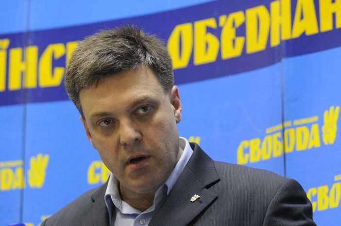 Oleh Tyahnybok, leader of Ukraine's nationalist Svoboda (Freedom) party, speaks to the media during a press conference in Kiev on Monday, Oct. 29, 2012, following parliamentary elections the day before. (AP Photo/Sergei Chuzavkov)