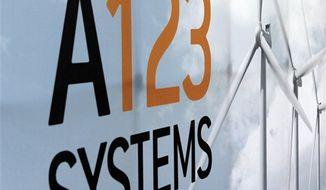 **FILE** An A123 Systems Inc. logo is seen here in Livonia, Mich., on Aug. 6, 2010. (Associated Press)