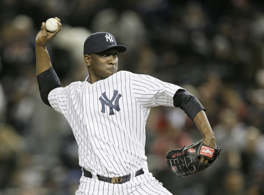 New York Yankees' pitcher Rafael Soriano throws in the tenth inning of Game 1 of the American League championship series against the Detroit Tigers Saturday, Oct. 13, 2012, in New York. (AP Photo/Matt Slocum)