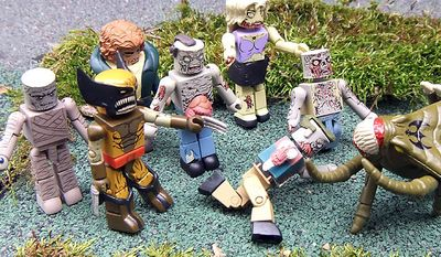 Diamond Select Toys' latest group of Minimates includes the Mummy, Wolverine, Quasimodo, the Brood and various zombies from The Walking Dead. (Photograph by Joseph Szadkowski / The Washington Times)