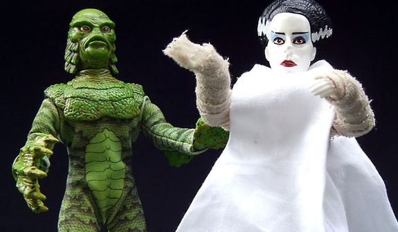Diamond Select Toys' Retro Cloth figures includes The Creature from the Black Lagoon and The Bride of Frankenstein. (Photograph by Joseph Szadkowski / The Washington Times)