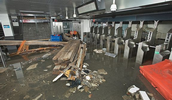 This Oct. 30, 2012, photo provided by New York's Metropolitan Transportation Authority (MTA) shows damage to the South Ferry station of the No. 1 subway line, in lower Manhattan, after Superstorm Sandy passed through New York. Floodwaters that poured into New York's deepest subway tunnels may pose the biggest obstacle to the city's recovery from the worst natural disaster in the transit system's 108-year history but on Wednesday Gov. Andrew Cuomo announced limited subway service will resume on Thursday. (AP Photo/Metropolitan Transportation Authority, Patrick Cashin)