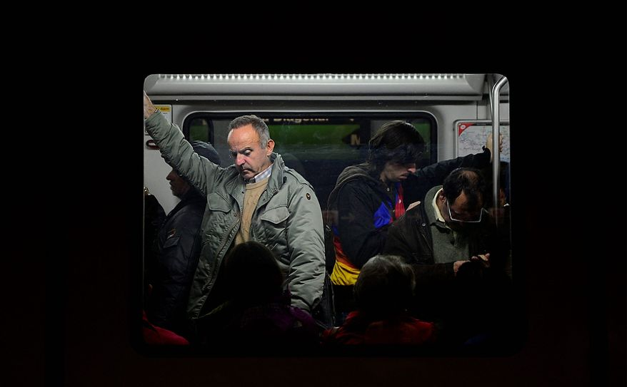 Passengers are pictured in the underground during a subway strike in Barcelona, Spain, Wednesday, Oct. 31, 2012. Unemployment in the 17-country eurozone rose to a record of 11.6 percent in September as large parts of the region slide further toward recession. Spain has the highest unemployment rate in the eurozone at 25.8 percent with Greece not far behind. (AP Photo/Manu Fernandez)