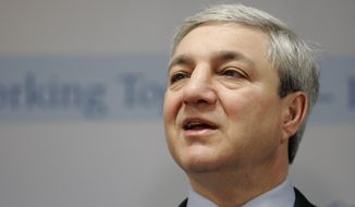 """** FILE ** Former Penn State President Graham Spanier is accused of perjury, endangering children and other charges in the Jerry Sandusky molestation scandal. According to online court records, charges were filed on Thursday, Nov. 1, 2012, against Mr. Spanier and two other university administrators in what prosecutors called """"a conspiracy of silence."""" (Associated Press)"""