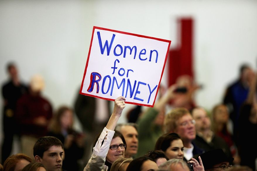 A supporter holds up a sign as Republican presidential candidate, former Massachusetts Gov. Mitt Romney makes a speech at a campaign event at a window and door factory, Thursday, Nov. 1, 2012, in Roanoke, Va. (AP Photo/The Roanoke Times, Jeanna Duerscherl)