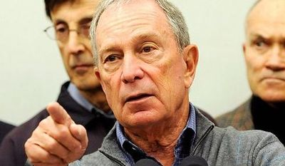 ** FILE ** Mayor Michael Bloomberg speaks to the media at Seward Park High School on the lower east side, the site of one of many public shelters set up in preparation of the storm, Sunday, Oct. 28, 2012. (AP Photo/ Louis Lanzano)