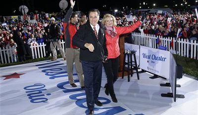 Republican presidential candidate, former Massachusetts Gov. Mitt Romney and his wife Ann Romney, followed by Republican vice presidential candidate Rep. Paul Ryan, R-Wis., and his wife Janna Ryan, wave to supporters at a campaign rally at The Square at Union Centre in West Chester, Ohio, Friday, Nov. 2, 2012. (AP Photo/Charles Dharapak)