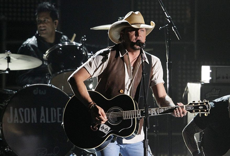 Jason Aldean performs at the 46th Annual Country Music Awards at the Bridgestone Arena on Thursday, Nov. 1, 2012, in Nashville, Tenn. (Photo by Wade Payne/Invision/AP)