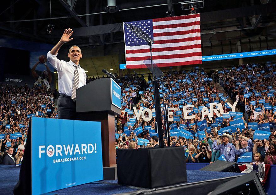 President Barack Obama speaks during a campaign event at the University of Colorado - Boulder, Thursday, Nov. 1, 2012 in Boulder, Colo. (AP Photo/Pablo Martinez Monsivais)