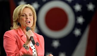 Ann Romney speaks at a rally in support of her husband, Republican presidential candidate Mitt Romney, at the Strongsville Recreation Center in Strongsville, Ohio, Thursday, Nov. 1, 2012. (AP Photo/Mark Duncan)