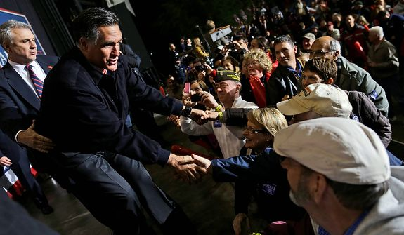 Republican presidential candidate and former Massachusetts Gov. Mitt Romney campaigns at Farm Bureau Live at Virginia Beach, Va., Thursday, Nov. 1, 2012. (AP Photo/Charles Dharapak)