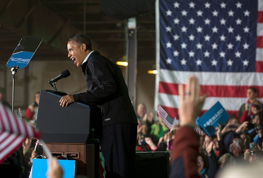 President Barack Obama speaks at a campaign event at the Franklin County Fairgrounds, Friday, Nov. 2, 2012, in Hilliard, Ohio, before heading to another campaign stop in in Springfield, Ohio. (AP Photo/Carolyn Kaster)