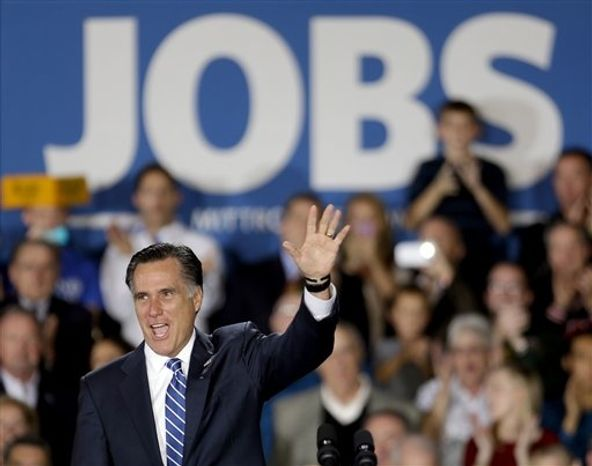 Republican presidential candidate, former Massachusetts Gov. Mitt Romney waves to supporters before speaking at a campaign event at Wisconsin Products Pavilion at State Fair Park, Friday, Nov. 2, 2012, in West Allis, Wic. (AP Photo/David Goldman)