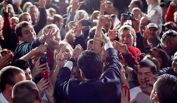 Republican presidential candidate, former Massachusetts Gov. Mitt Romney greets supporters at a campaign stop at the Wisconsin Products Pavilion at State Fair Park in West Allis, Wis., Friday, Nov. 2, 2012. (AP Photo/Charles Dharapak)