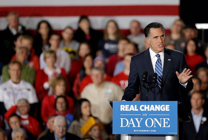 Republican presidential candidate, former Massachusetts Gov. Mitt Romney gestures as he speaks at a campaign event at Wisconsin Products Pavilion at State Fair Park, Friday, Nov. 2, 2012, in West Allis, Wis. (AP Photo/David Goldman)