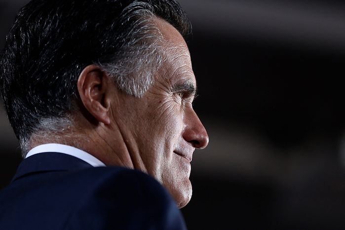 Republican presidential candidate, former Massachusetts Gov. Mitt Romney smiles as he speaks during a campaign event at the Wisconsin Products Pavilion at State Fair Park in West Allis, Wis., Friday, Nov. 2, 2012. (AP Photo/Charles Dharapak)