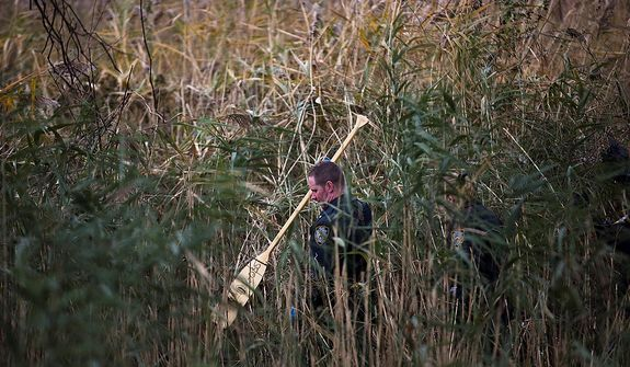 A NYPD police officer performs a search in high grasses that were flooded during a storm surge, Wednesday, Oct. 31, 2012, in the Arrochar neighborhood of the Staten Island borough of New York. Sandy, the storm that made landfall Monday, caused multiple fatalities, halted mass transit and cut power to more than 6 million homes and businesses. (AP Photo/ John Minchillo)