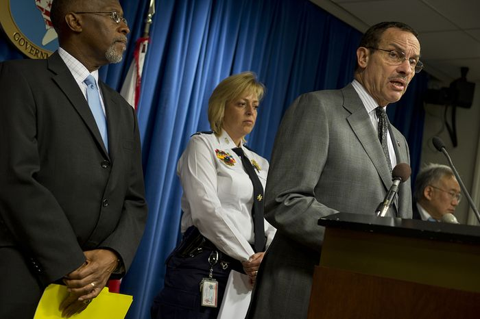 Mayor Vincent Gray was joined by Metropolitan Police Department Chief Cathy Lanier and other public safety officials on Friday, Nov. 2, 2012 at the Wilson Building in Washington, D.C. to announce changes to improve both safety and fairness in the photo enforcement violations for traffic cameras in the city. The new program, which goes into effect on Monday, will include the following changes: Violators caught speeding up to 10 mph over the limit will be fined $50 instead of $75; violations from 11 to 15 mph over the limit will be fined at $100 instead of $125; and violations of more than 25 mph over the limit will increase from $250 to $300. The mayor said that the revenue raised from these fines will go towards hiring 100 new police officers in 2013. (Barbara L. Salisbury/The Washington Times)