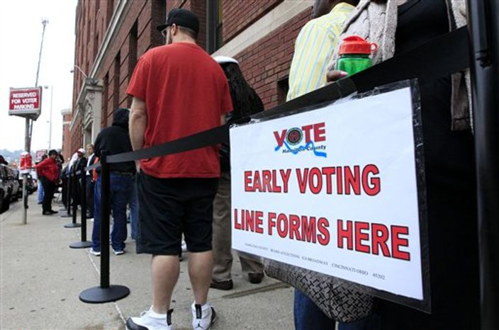 FILE - In this Oct. 2, 2012 file photo, voters stand in line outside the Hamilton County Board of Elections just before it opened for early voting, in Cincinnati. Stock up on munchies and make sure the batteries in your TV remote are fresh. With this year's presidential election razor-close to the finish, Tuesday could be a long night. Even if the presidency isn't decided until after midnight EST, there will be plenty of clues early in the evening on how things are going for President Barack Obama and Republican Mitt Romney. Obama has more options for piecing the 270 electoral votes needed for victory, so any early setbacks for Romney could be important portents of how the night will end. (AP Photo/Al Behrman, File)