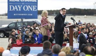 Republican presidential candidate and former Massachusetts Gov. Mitt Romney and wife Ann Romney campaign at Portsmouth International Airport, in Newington, N.H., Saturday, Nov. 3, 2012. (AP Photo/Charles Dharapak)
