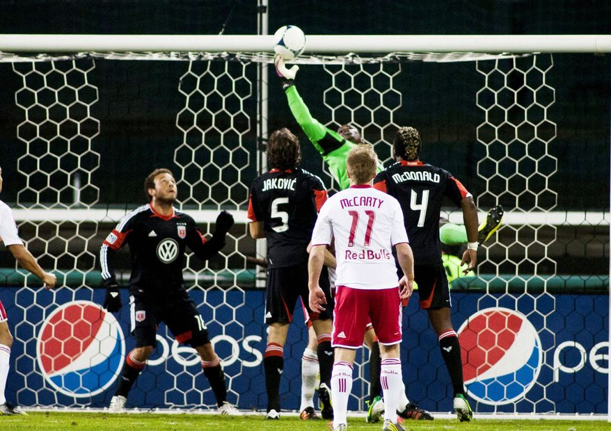 Craig Bisacre/The Washington Times   D.C. goalkeeper Bill Hamid bobbled the ball into his net for a New York goal during the second half Saturday. The second leg of the MLS Eastern Conference semifinal series is Wednesday in Harrison, N.J.
