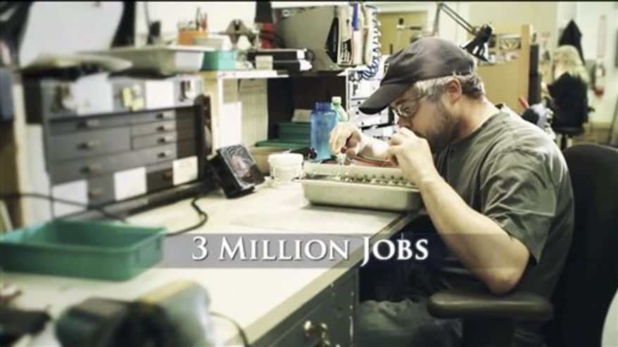 """This image provided by Romney For President, Inc. shows a still frame made from a video ad entitled """"12 Million Jobs."""" One analysis estimates the campaigns and independent groups will have spent about $1.1 billion on television advertising this year, with $750 million already allocated in states likely to determine the outcome of the presidential contest. (AP Photo/Romney for President, Inc.)"""